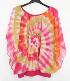 Tie Dye blouse fuchsia-lime-oranje