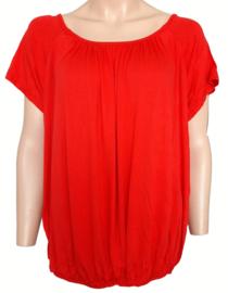 T-shirt met elastische band aan de onderzijde, rood