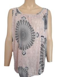 Mouwloze top / hemd, roze met print
