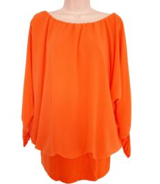 Oranje blouse met elastische band