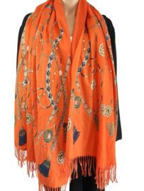 Oranje sjaal met mooie print