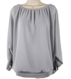 Lichtgrijze blouse met elastische band