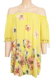 Gele top die je gewoon of off-shoulder kunt dragen