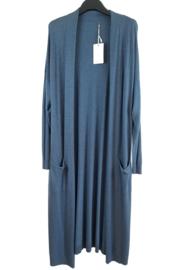 Lang dun vest, jeansblauw