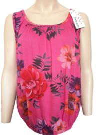 Mouwloze top / hemd fuchsiaroze met bloemen