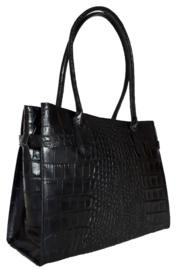 Zwart lederen tas met kroko-print