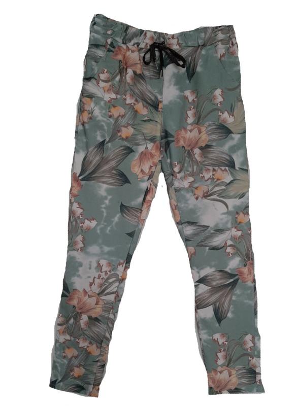 Groene stretch broek met print