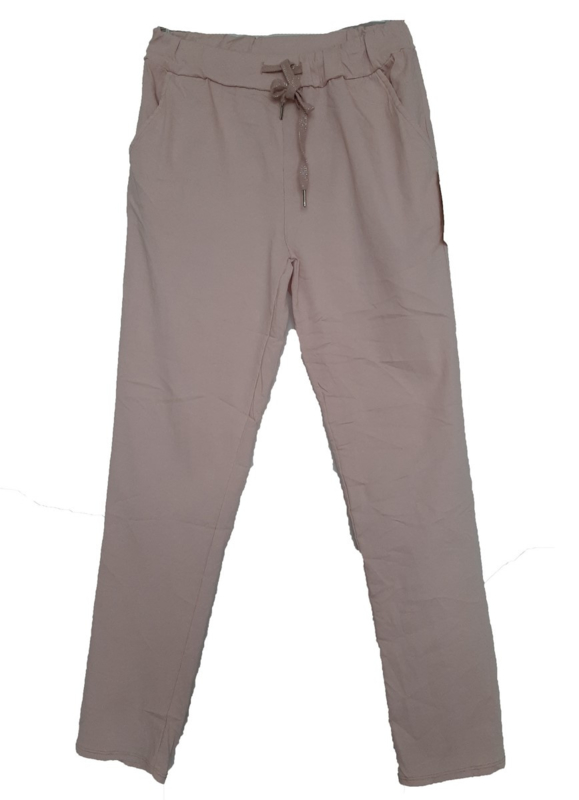 Roze stretch broek met koord