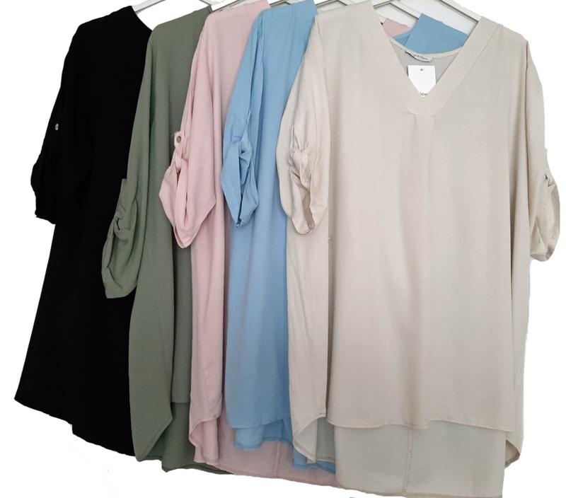 Ruime tuniek met V-hals in vijf verschillende kleuren