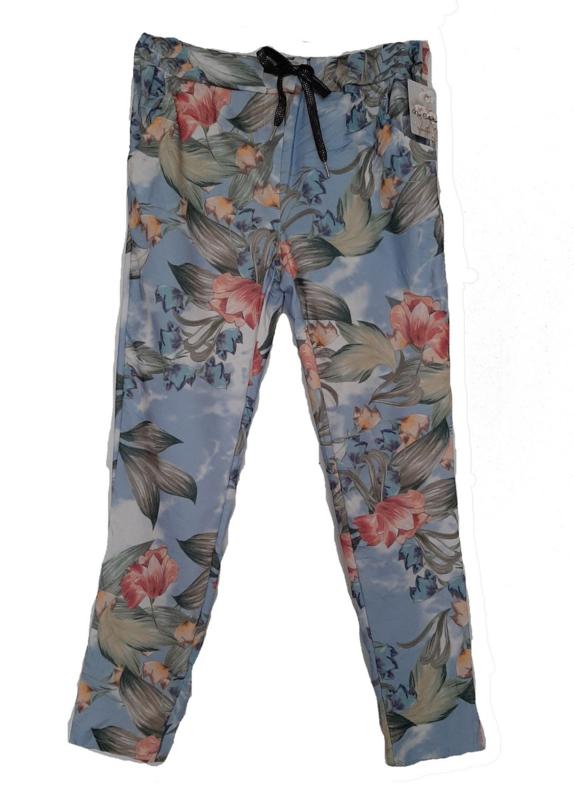 Blauwe stretch broek met print