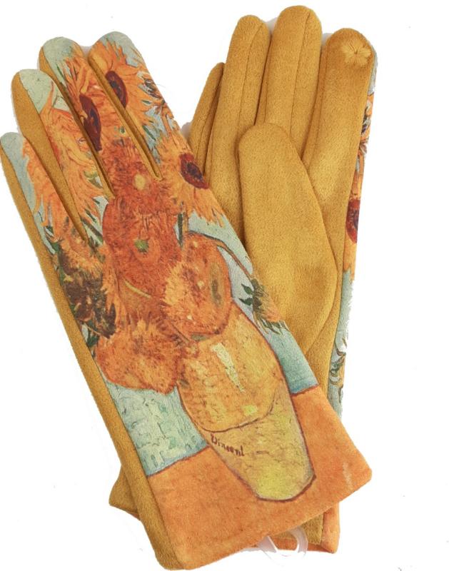handschoenen met print van de zonnebloemen van Van Gogh