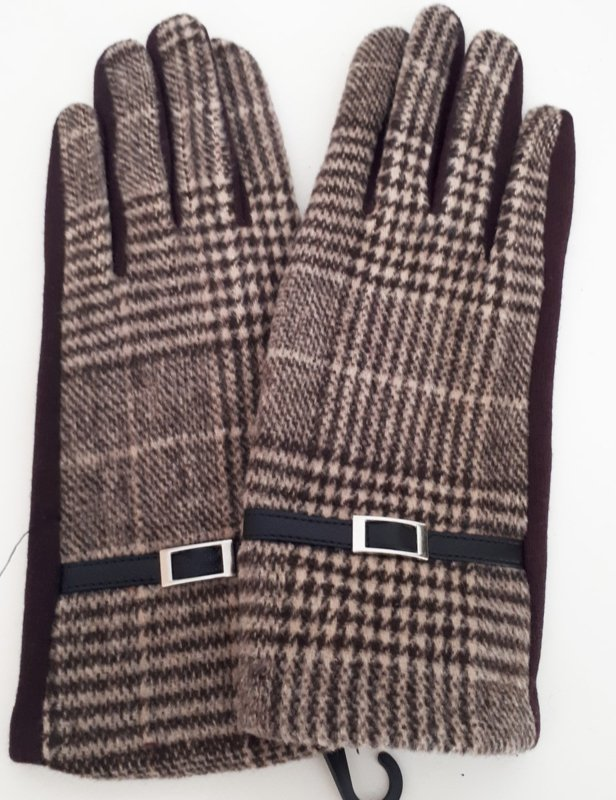 Bruine handschoenen met ruitmotief