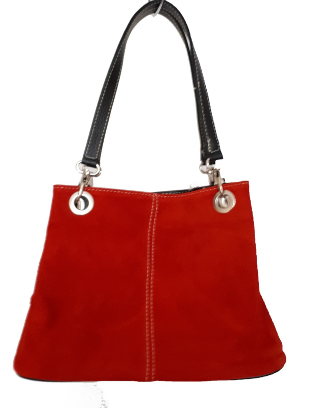 Suede buidel tas, rood