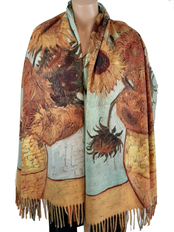 Sjaal met realistische print van Van Gogh's zonnebloemen