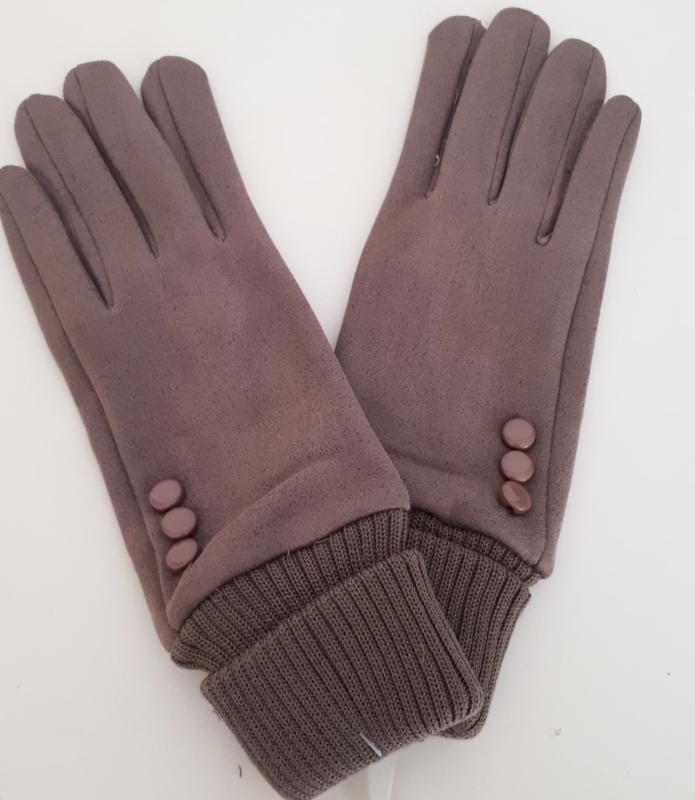 Taupe handschoenen met elastisch boord