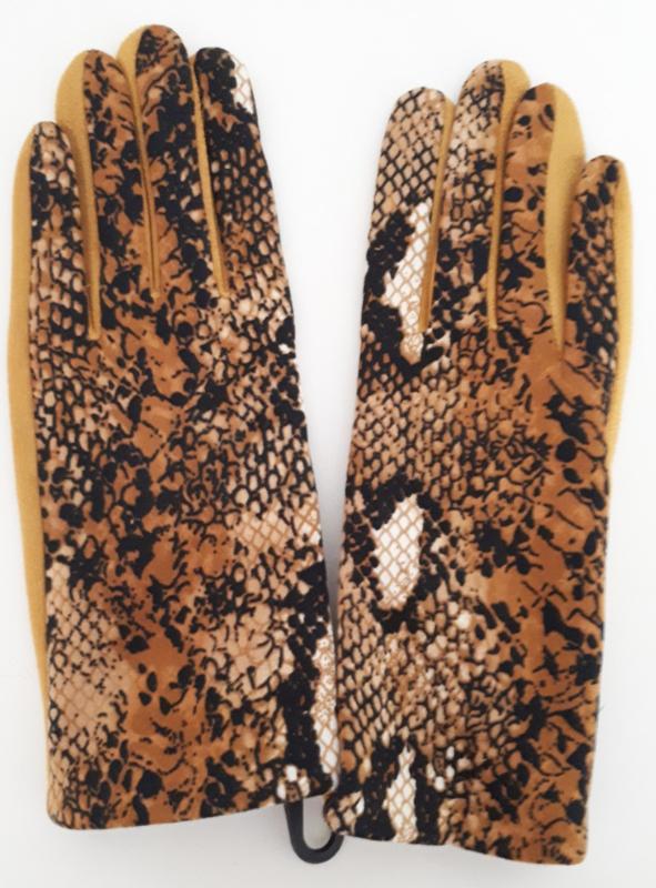 Okergele handschoenen met slangenprint