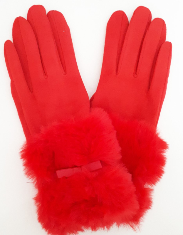 Rode handschoenen met (nep)bont