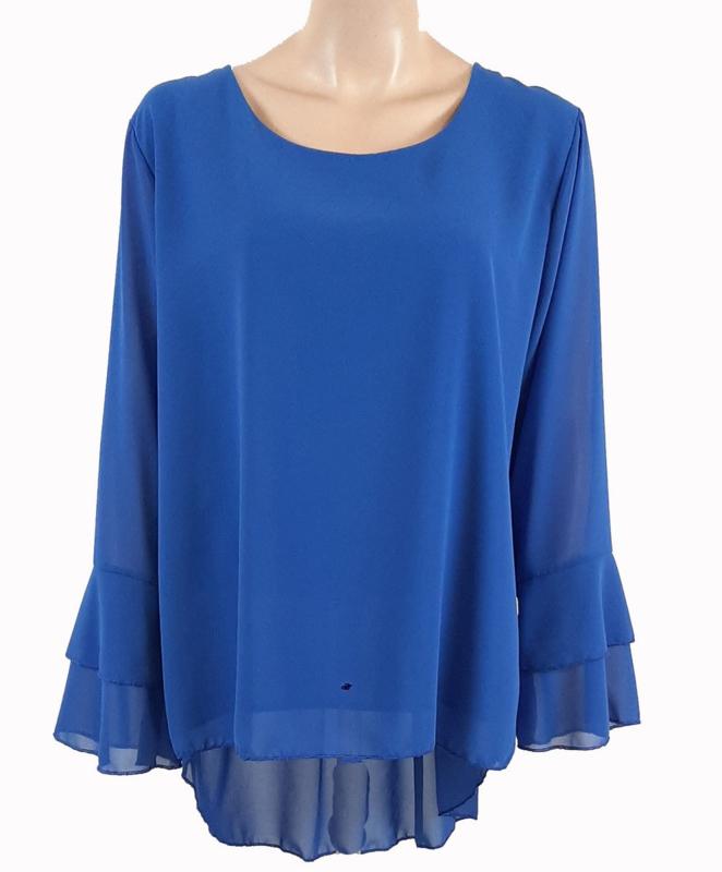 Kobaltblauwe blouse met ruches aan de mouwen