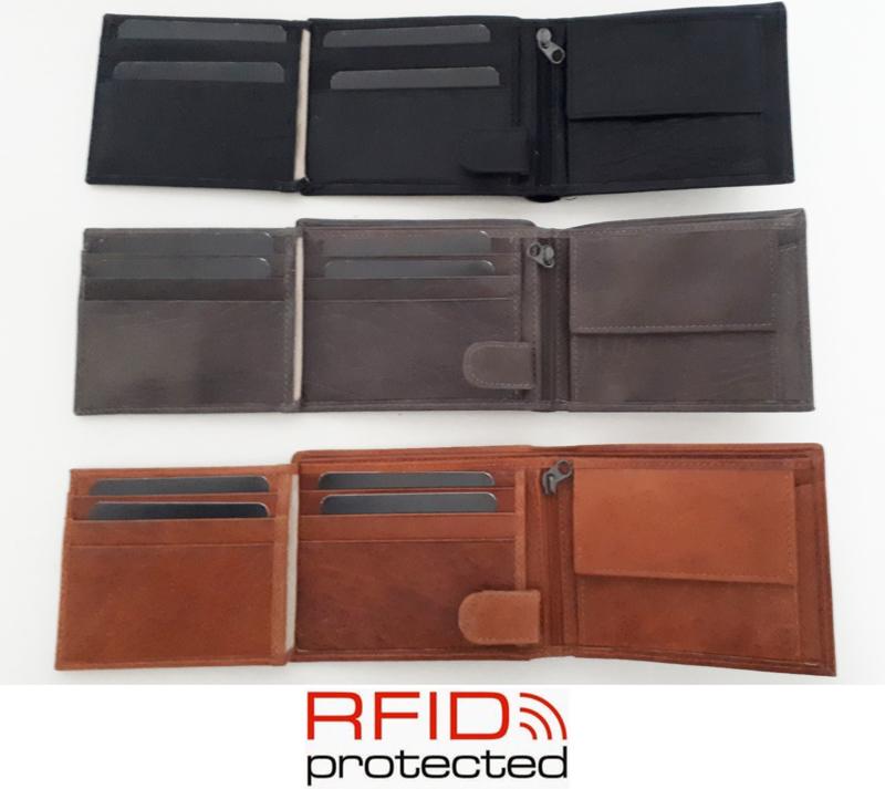 Lederen herenportemonnee met RFID bescherming in drie kleuren