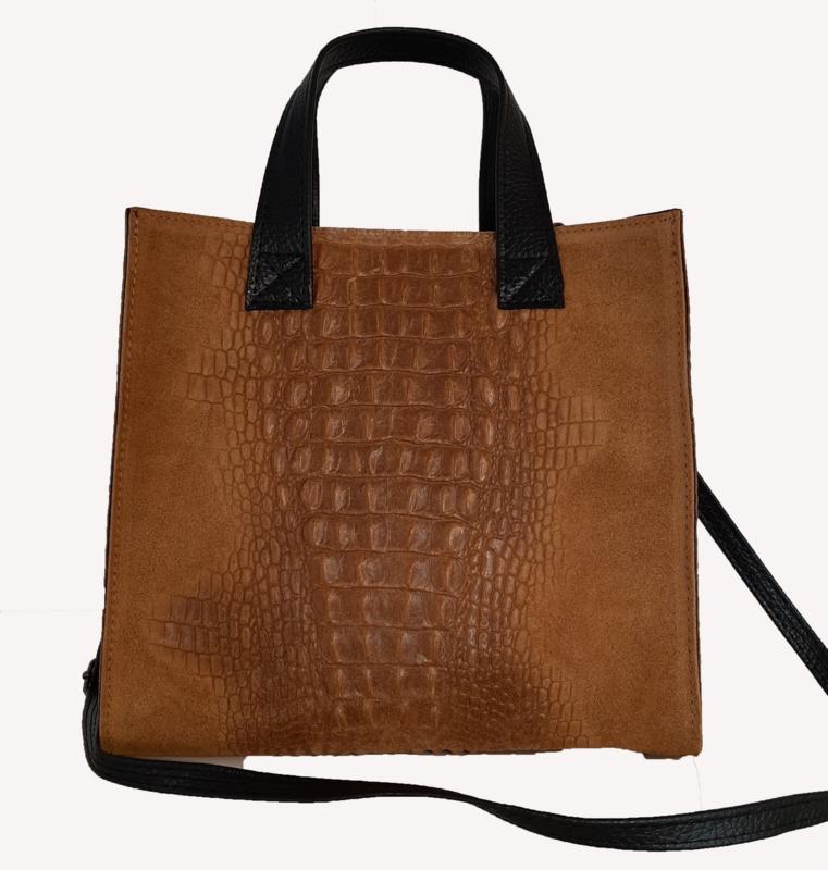 Echt lederen tas met croco print en suede, lichtbruin-camel