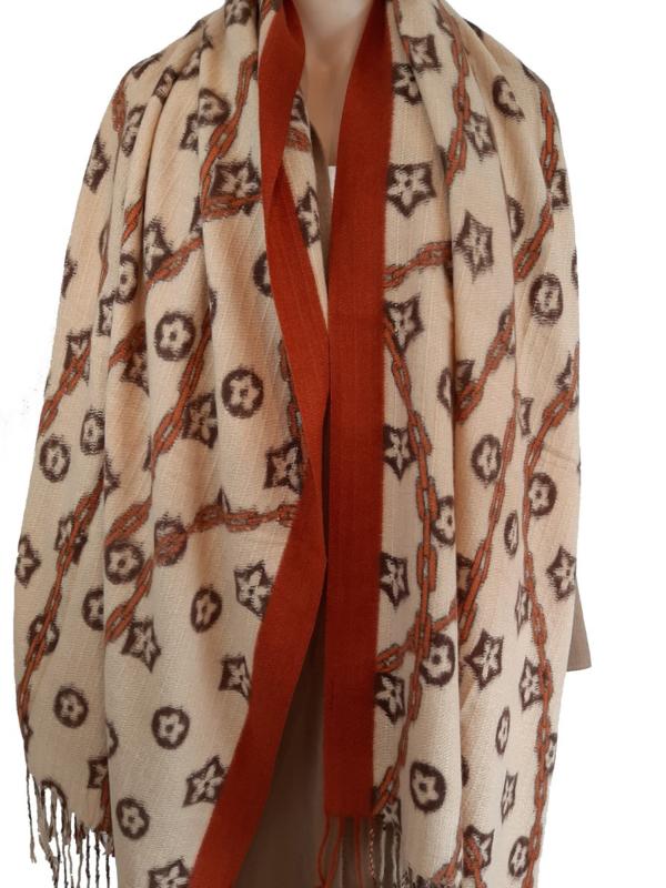 Camel sjaal met print