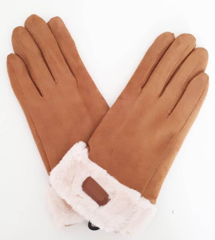 Gevoerde camelbruine handschoenen