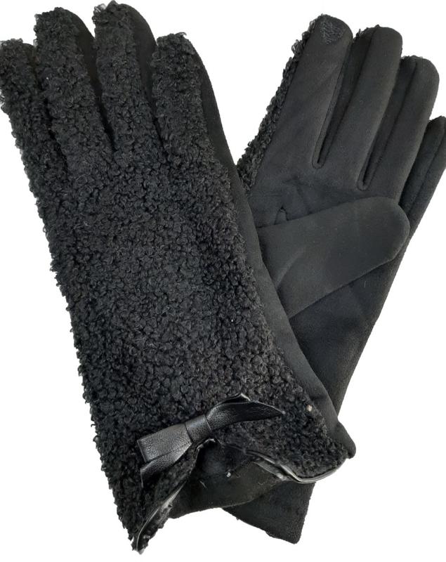 Zwarte handschoenen met strikje