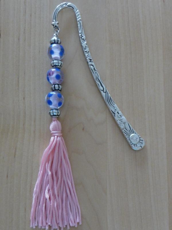 Blauw roze zilver kwastje -090326-