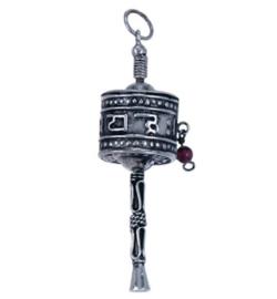Gebedswiel hangertje zilver, met mantra