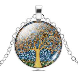 Levensboomhanger van glas, aan zilverkleurige ketting