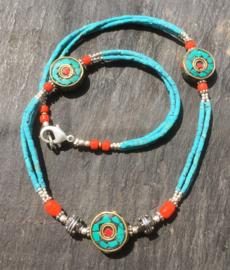 Traditionele Tibetaanse halsketting, handgemaakt