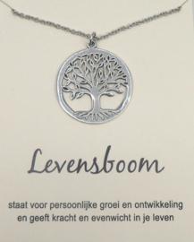 Levensboom hanger aan ketting, op cadeaukaartje
