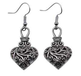 Hartvormige oorbellen van Tibetaans zilver