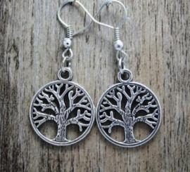 Levensboom oorbellen verzilverd