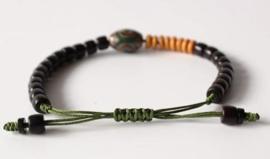 Tibetaanse armband met Dzi kraal en natuurlijke materialen