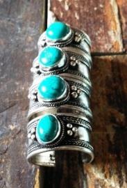 Tibetaans zilveren ring met Turkoois