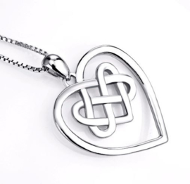 Keltische Hart hanger van zilver aan ketting