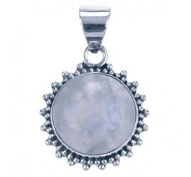 Maansteen hangertje van zilver, klassiek rond model