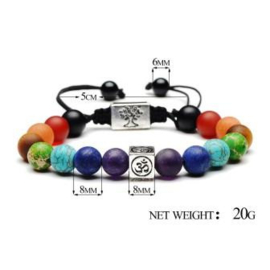 Chakra armband met Levensboom en Aum bedel