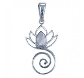 Lotus spiraal hanger van zilver met maansteen