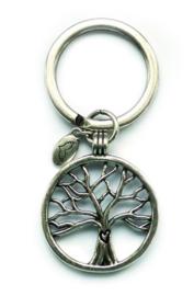 Sleutelhanger levensboom, verzilverd, met mooie details