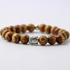 Wengé armband met zilverkleurige Boeddhakraal
