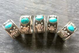 Tibetaans zilveren ring met Lotus en Turkoois