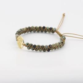 Gevlochten armband met Jade en Levensboom goudkleurig