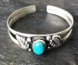 Tibetaans zilveren open armband met Turkoois