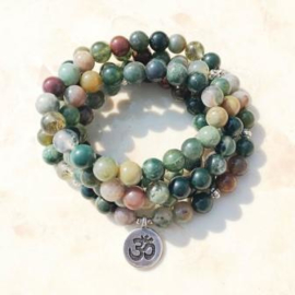 Agaat mala ketting of armband met Ohm bedel