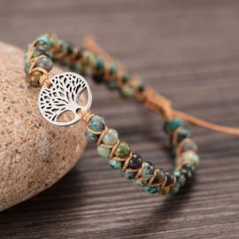 Gevlochten armband met Jade en Levensboom zilverkleurig