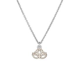 Lotus zilverkleurig aan ketting, op cadeaukaartje