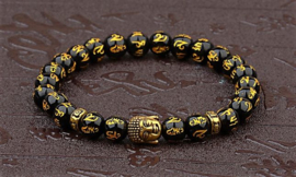 Mantra-kralen armband met  goudkleurige Boeddha-kraal