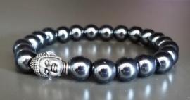 Hematiet armband met zilverkleurige Boeddhakraal